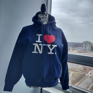 I ❤️NY Pullover Thick Hoodie in Dark Navy Spring
